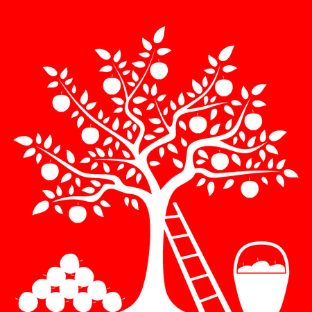 orchards: vector apple tree with pile of apples, ladder and basket of apples isolated on red background