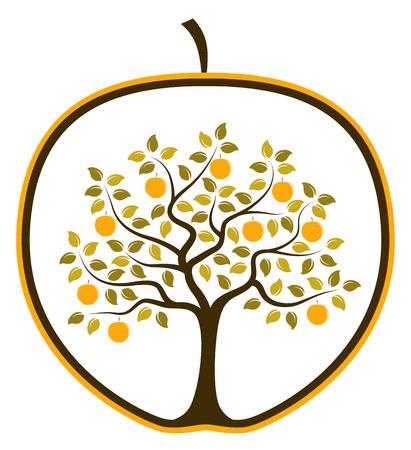 arboles frutales: vector árbol de manzana en manzana aislada en el fondo blanco