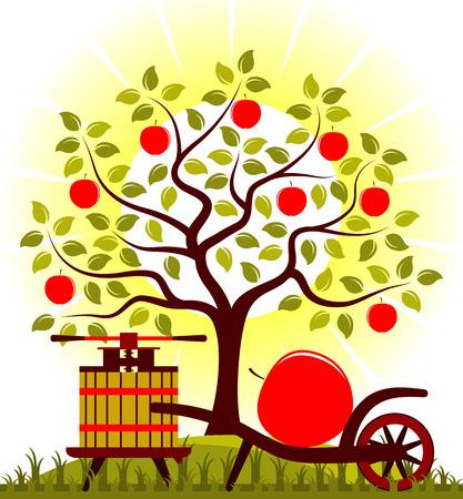 big apple: vector apple tree, fruit press and hand barrow with one big apple