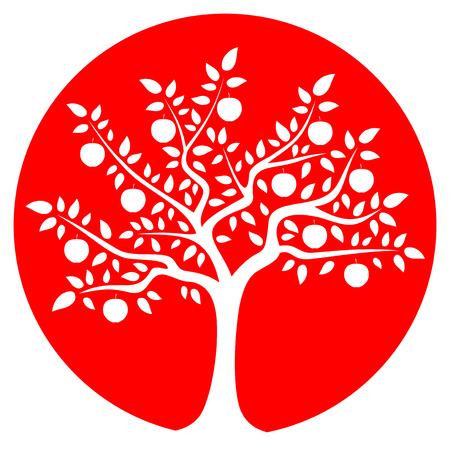 apple tree isolated: vector apple tree isolated on red round
