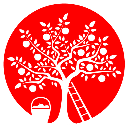 apple isolated: vector apple tree, ladder and basket of apples isolated on red round