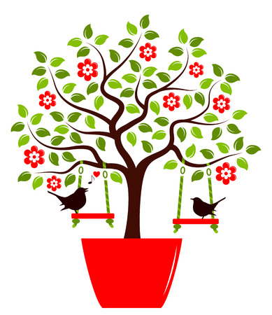 planter: vector flowering tree with swings in pot and couple of birds isolated on white background