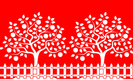 apple border: vector seamless border with apple trees behind picket fence isolated on red background Illustration