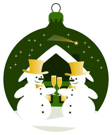 pair of glasses: vector christmas ball with pair of snowmen with glasses of champagne