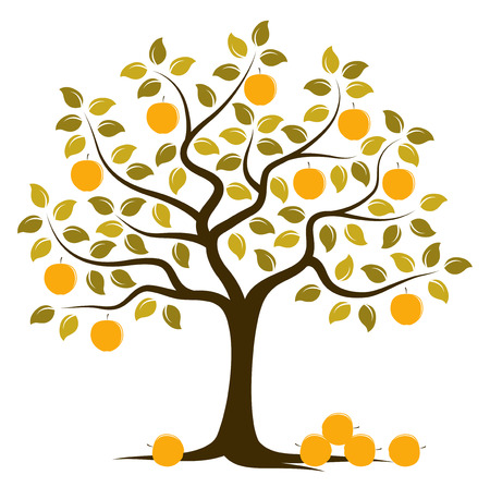 fruit tree: vector apple tree with pile of apples isolated on white background