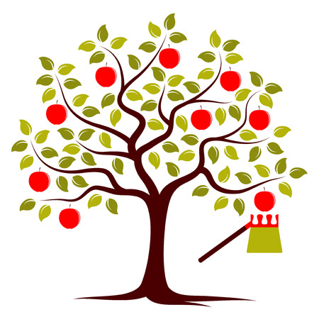 picker: vector apple tree and fruit picker isolated on white background