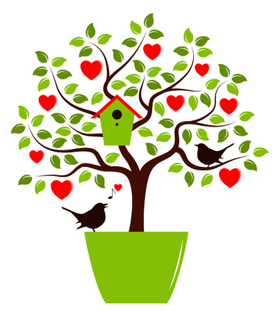 bird box: vector heart tree with nesting bird box in pot and couple of birds isolated on white background