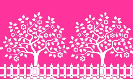 picket: vector seamless border with flowering trees behind picket fence isolated on pink background