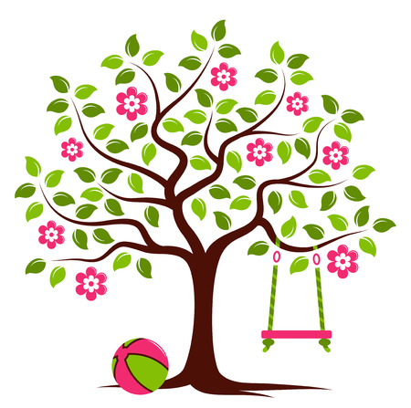 tree symbol: vector flowering tree with swing and ball isolated on white background