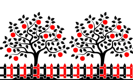 picket: vector seamless border with apple trees behind picket fence isolated on white background Illustration