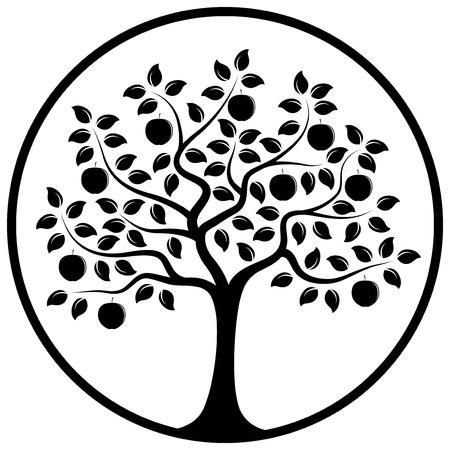 vector appelboom in ronde op een witte achtergrond Stock Illustratie