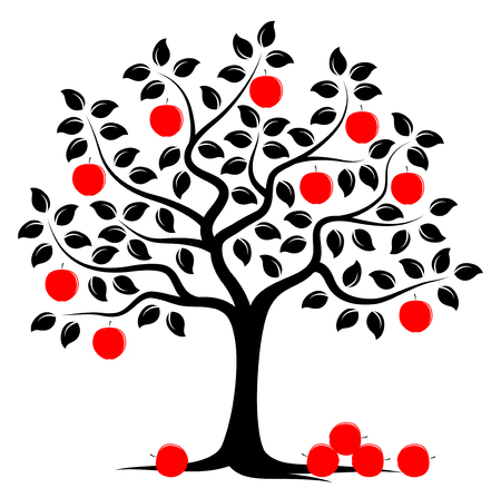 tree silhouettes: vector apple tree with pile of apples isolated on white background