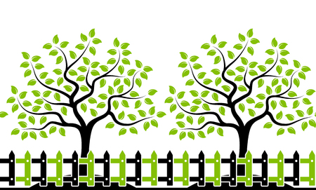 picket fence: vector seamless border with trees behind picket fence isolated on white background