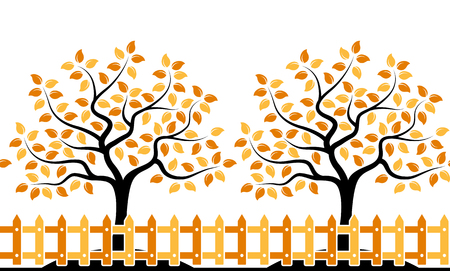 picket: vector seamless border with autumn trees behind picket fence isolated on white background