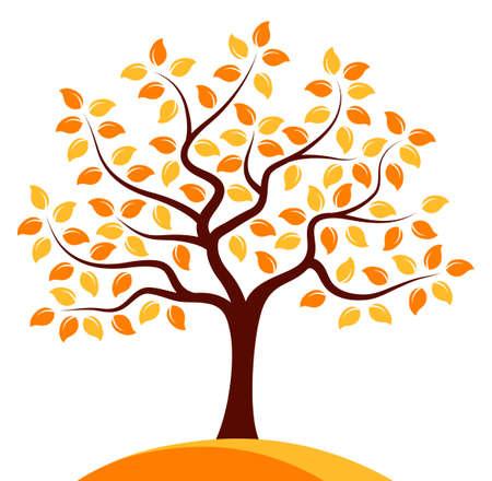 autumn tree: vector autumn tree isolated on white background