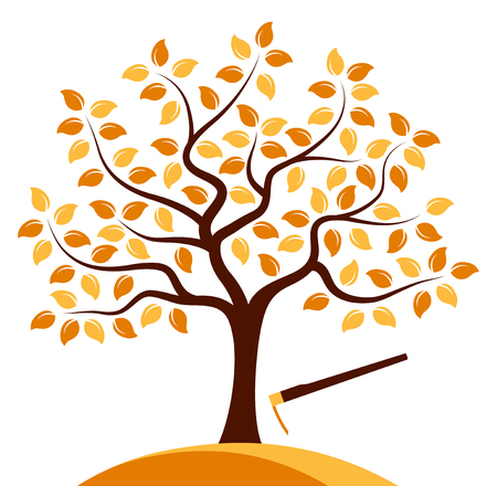 hoe: vector autumn tree and hoe isolated on white background