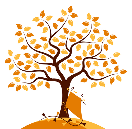 autumn tree: vector autumn tree and kite isolated on white background