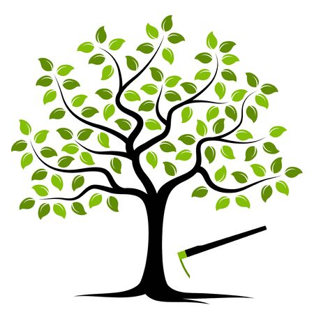 hoe: vector tree and hoe isolated on white background