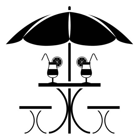 white party: vector table with umbrella isolated on white background