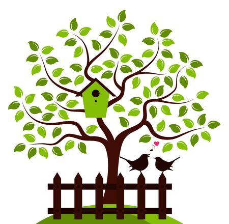 white picket fence: vector tree with nesting bird box and picket fence with couple of birds isolated on white background