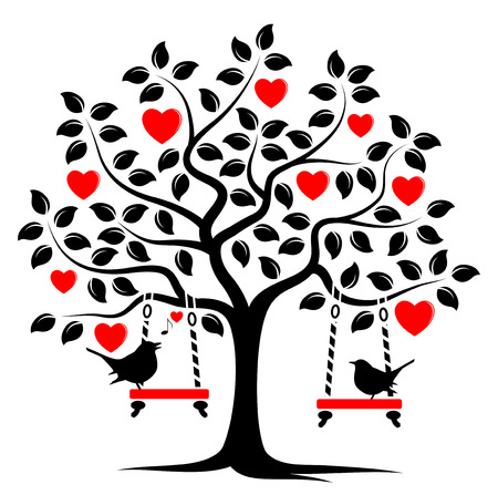 love icon: vector heart tree with swings and couple of birds isolated on white background