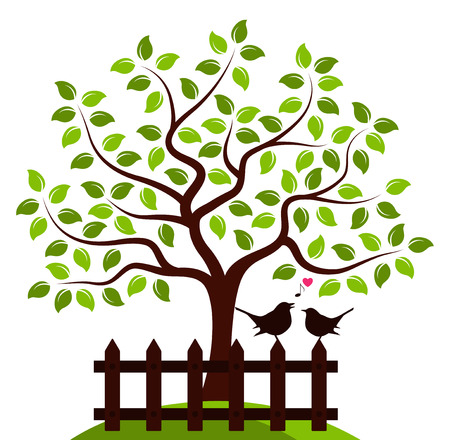 picket green: vector tree and picket fence with couple of birds isolated on white background