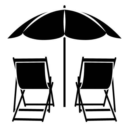 deckchair: vector deck chairs under beach umbrella isolated on white background
