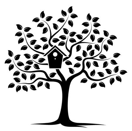 nesting: vector tree with nesting bird box isolated on white background Illustration
