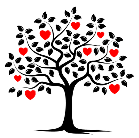 tree symbol: vector heart tree isolated on white background Illustration