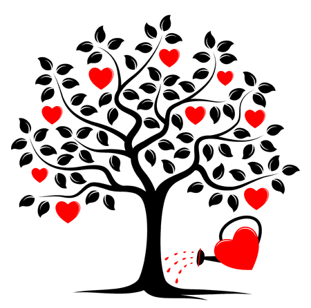 Vektor Herz Baum und Herzen Gießkanne auf weißem Hintergrund isoliert