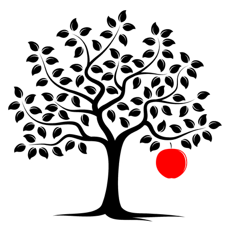 vector apple tree with one big apple isolated on white background Illustration