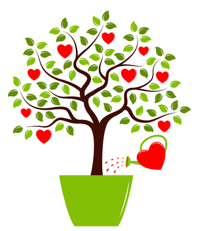 watering pot: vector heart tree in pot and heart watering can isolated on white background