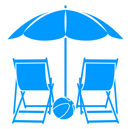 deck: vector deck chairs under beach umbrella isolated on white background
