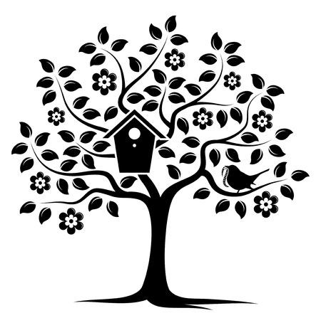 bird box: vector flowering tree with nesting bird box and bird bringing worm isolated on white background Illustration