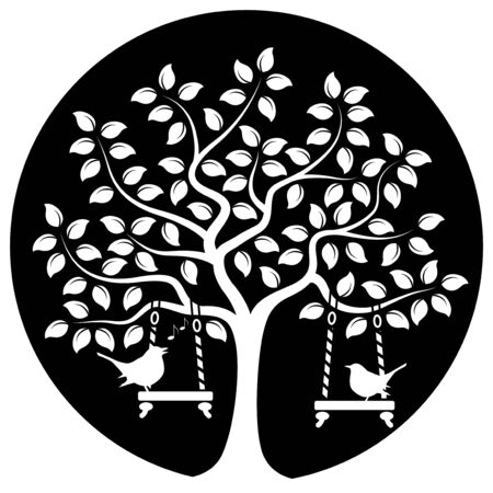nature vector: vector tree with swings and couple of birds isolated on black round Illustration