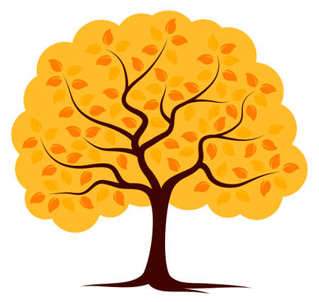 isolated tree: vector autumn tree isolated on white background