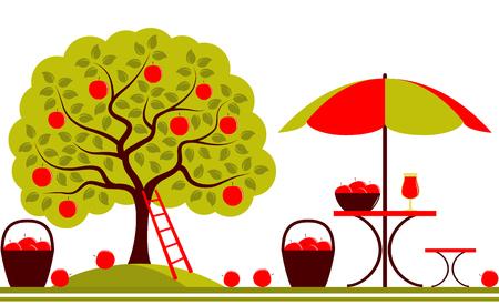 vector naadloze grens met appelboom en een tafel met paraplu op een witte achtergrond Stock Illustratie