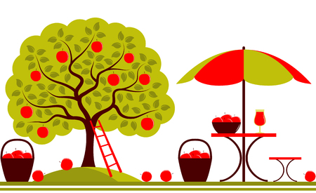 apple border: vector seamless border with apple tree and table with umbrella isolated on white background
