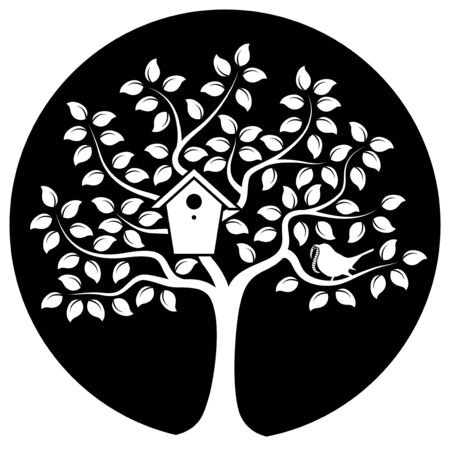 bird box: vector tree with nesting bird box and bird bringing worm on black round
