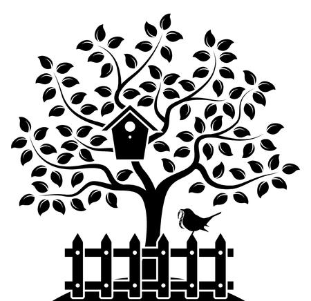 arbres silhouette: vector tree avec la boîte d'oiseaux nicheurs et palissade avec des oiseaux isolé sur fond blanc
