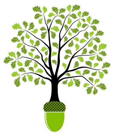 tree silhouettes: vector oak tree growing from acorn isolated on white background Illustration