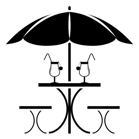 vector tafel met paraplu op een witte achtergrond