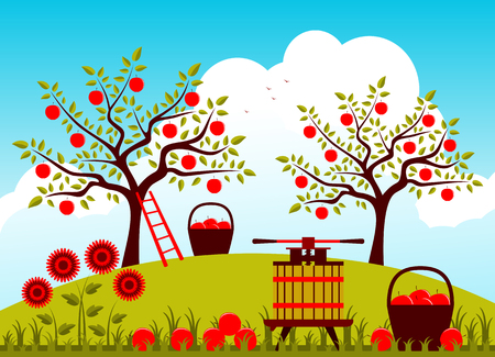 orchard fruit: vector fruit press and baskets of apples in apple orchard Illustration