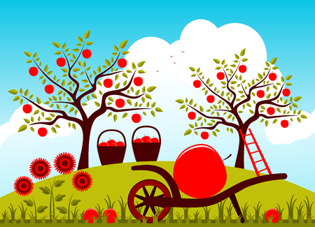 apple orchard: vector hand barrow with one big apple and baskets of apples in apple orchard