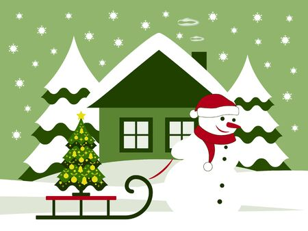 pulling: vector snowman pulling sledge with christmas tree Illustration