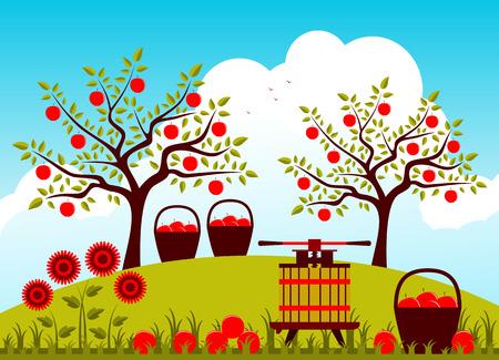 fruit basket: vector fruit press and baskets of apples in apple orchard Illustration