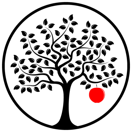 big apple: vector apple tree with one big apple in round isolated on white background Illustration