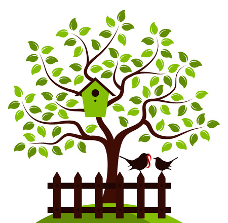 bird box: vector tree with nesting bird box and picket fence with mother bird and baby bird isolated on white background
