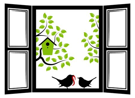 mother and baby: vector mother bird and baby bird in the window Illustration