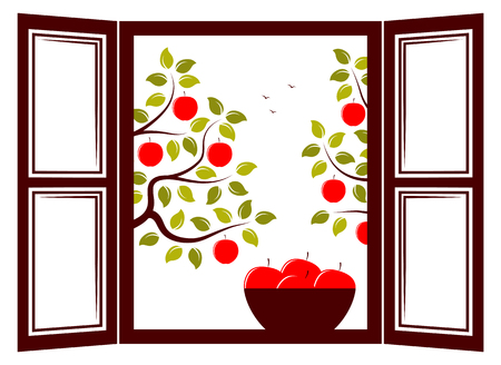 orchards: vector bowl of apples in the window and apple trees outside the window
